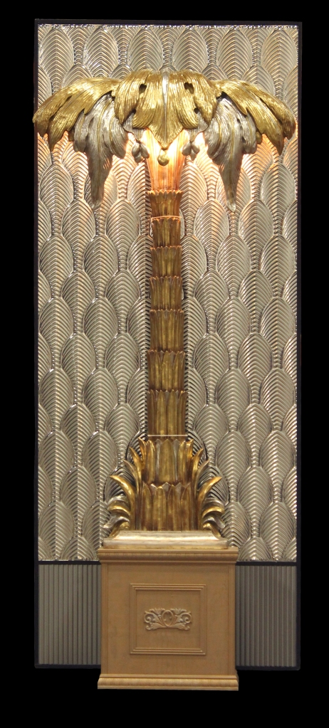 Freestanding Silver & Gold Deco Palm Tree with Panel - Town & Country Event Rentals