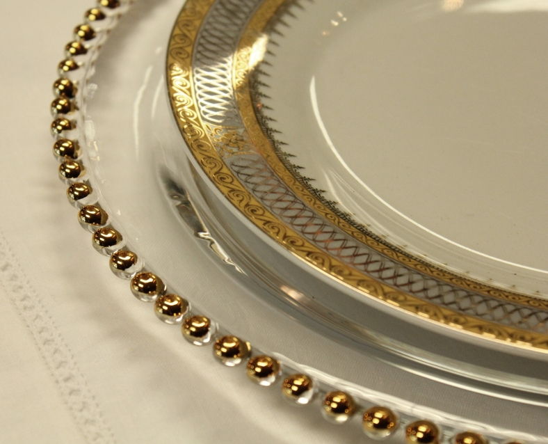 Gold Beaded Charger - Town & Country Event Rentals