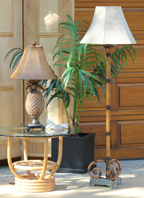 Pineapple Table Lamp and Bamboo Floor Lamp - Town and Country Event Rentals