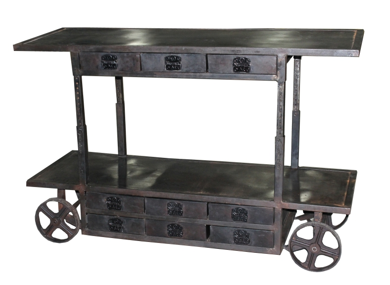 Edison Trolley Bar Cart with 9 Drawers
