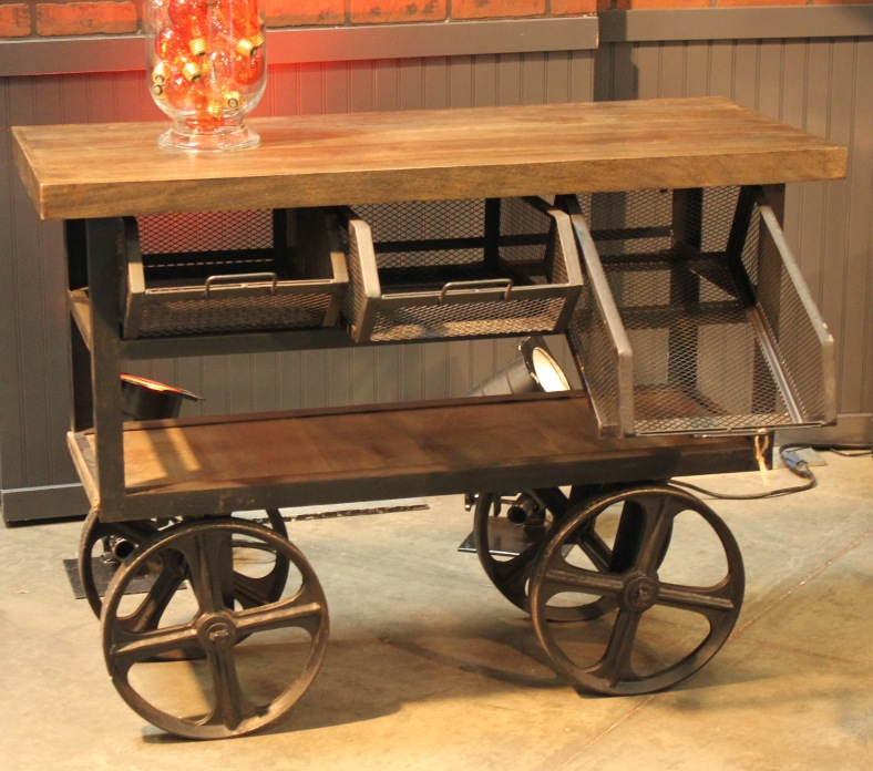Edison Industrial Cart with Wire Bins & Wheels