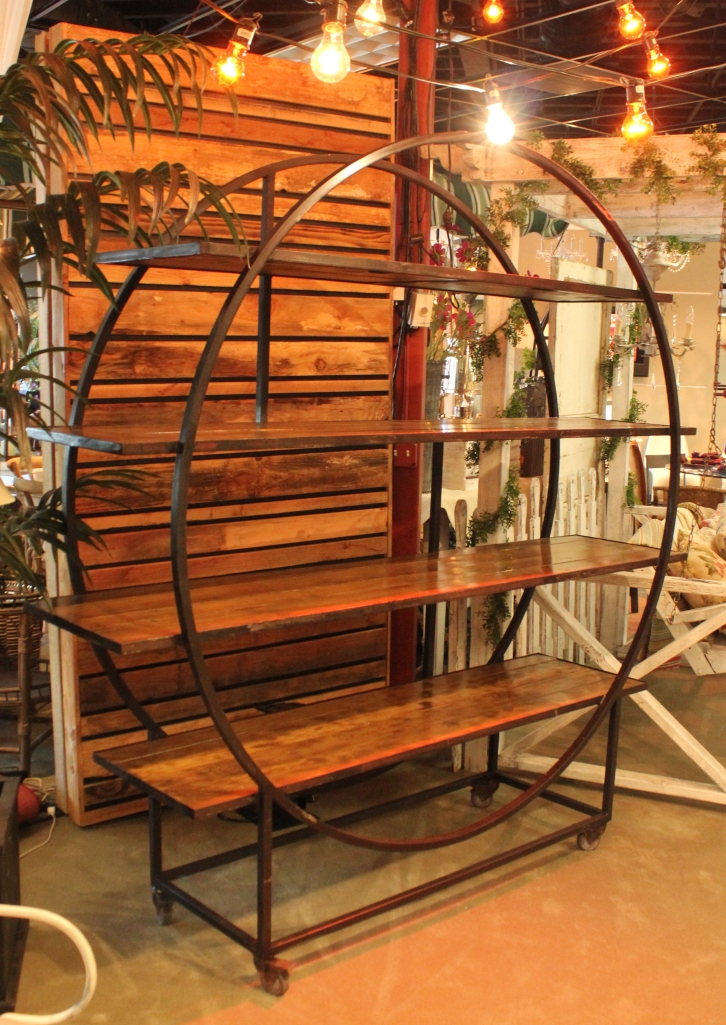 Edison Circular Back Bar with Wood Shelves