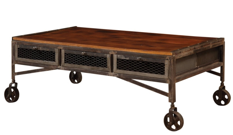 Edison Coffee Table with Drawers and Wheels