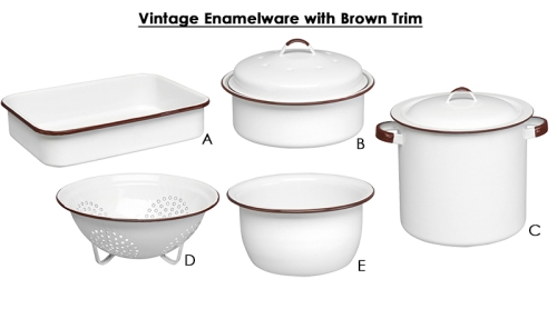 Vintage Enamelware with Brown Trim