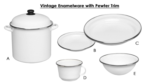 Vintage Enamelware with Pewter Trim